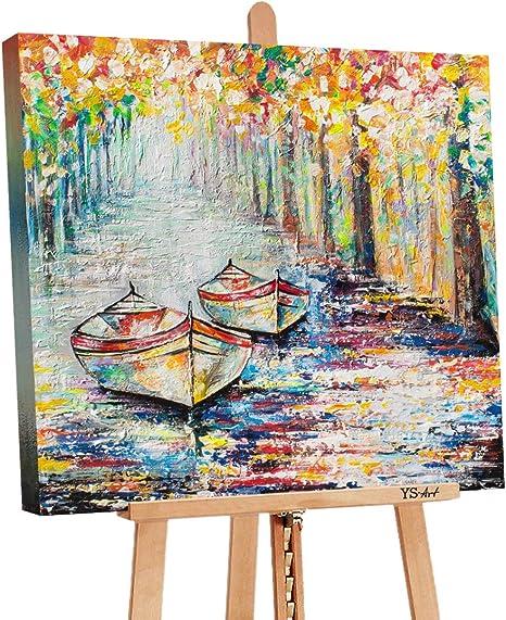 Ys Art Deluxe Tableau Peinture Acrylique Jetee D Automne Peint A La Main Tableau Peinture Sur Toile Unique Multicolore Ps 075 Amazon Fr Cuisine Maison