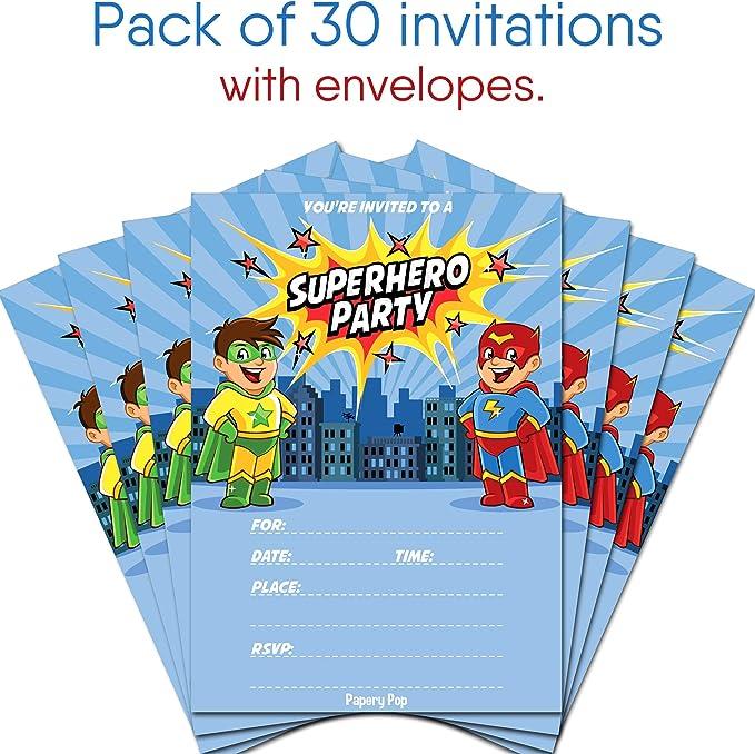 Kids Birthday Party Boy 30 Superhero Birthday Invitations with Envelopes
