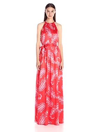 5c2835bd5 Cynthia Rowley Women's Pleated Maxi Dress with Halter Neck, Poppy Red 0