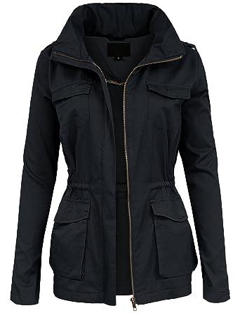 68c8336b BEKDO Womens Lightweight Hidden Hooded Collar Anorak Waist Drawstring Jacket