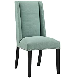 Modway Baron Modern Tall Back Wood Upholstered Fabric Parsons Kitchen and Dining Room Chair with Nailhead Trim in Laguna