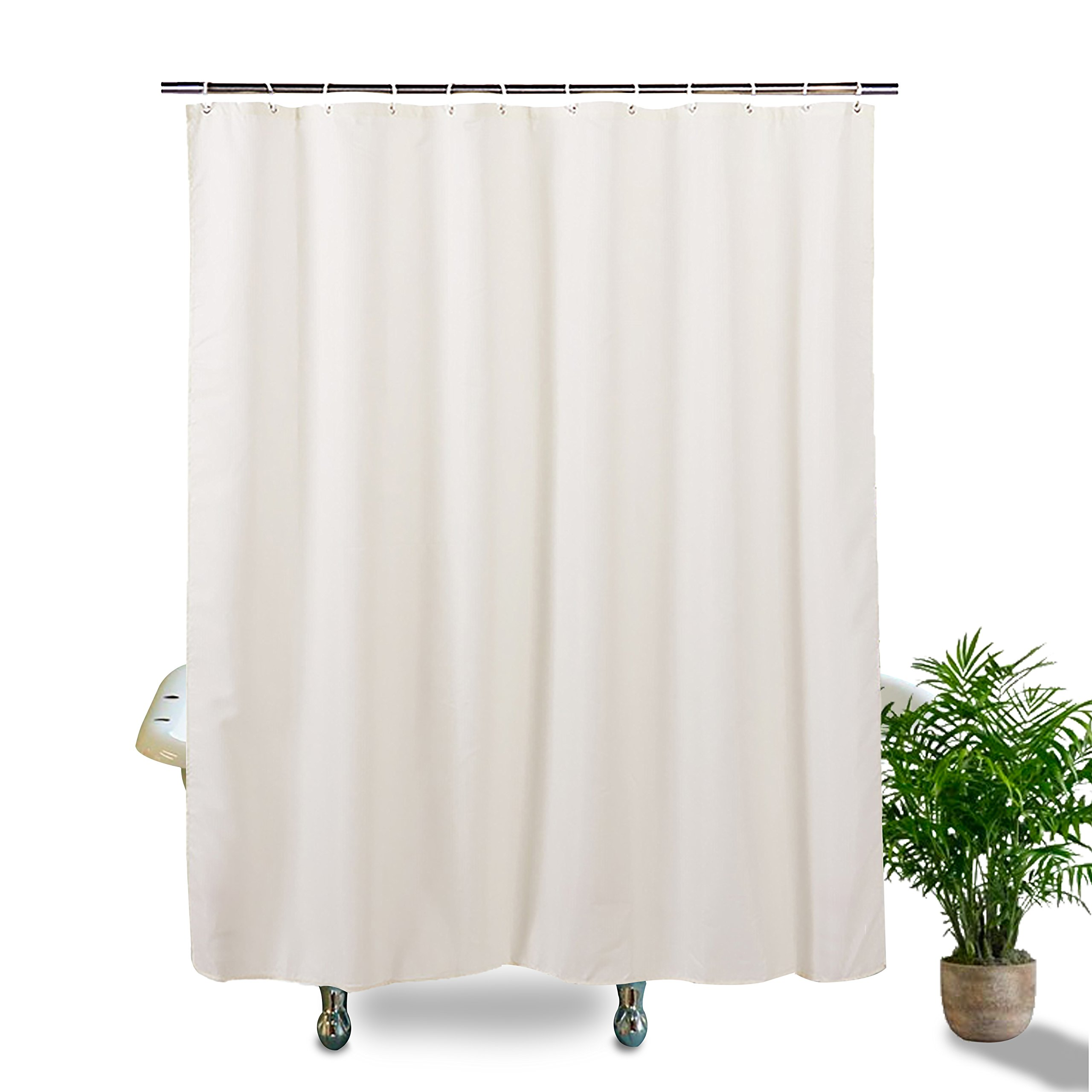 Hishreno Luxury Fabric Shower Curtain Liner, Mold/Mildew Resistant, Antibacterial and Water Repellent -Textured, Hotel Quality, White 72x72 - Includes Rust Proof Metal Hooks