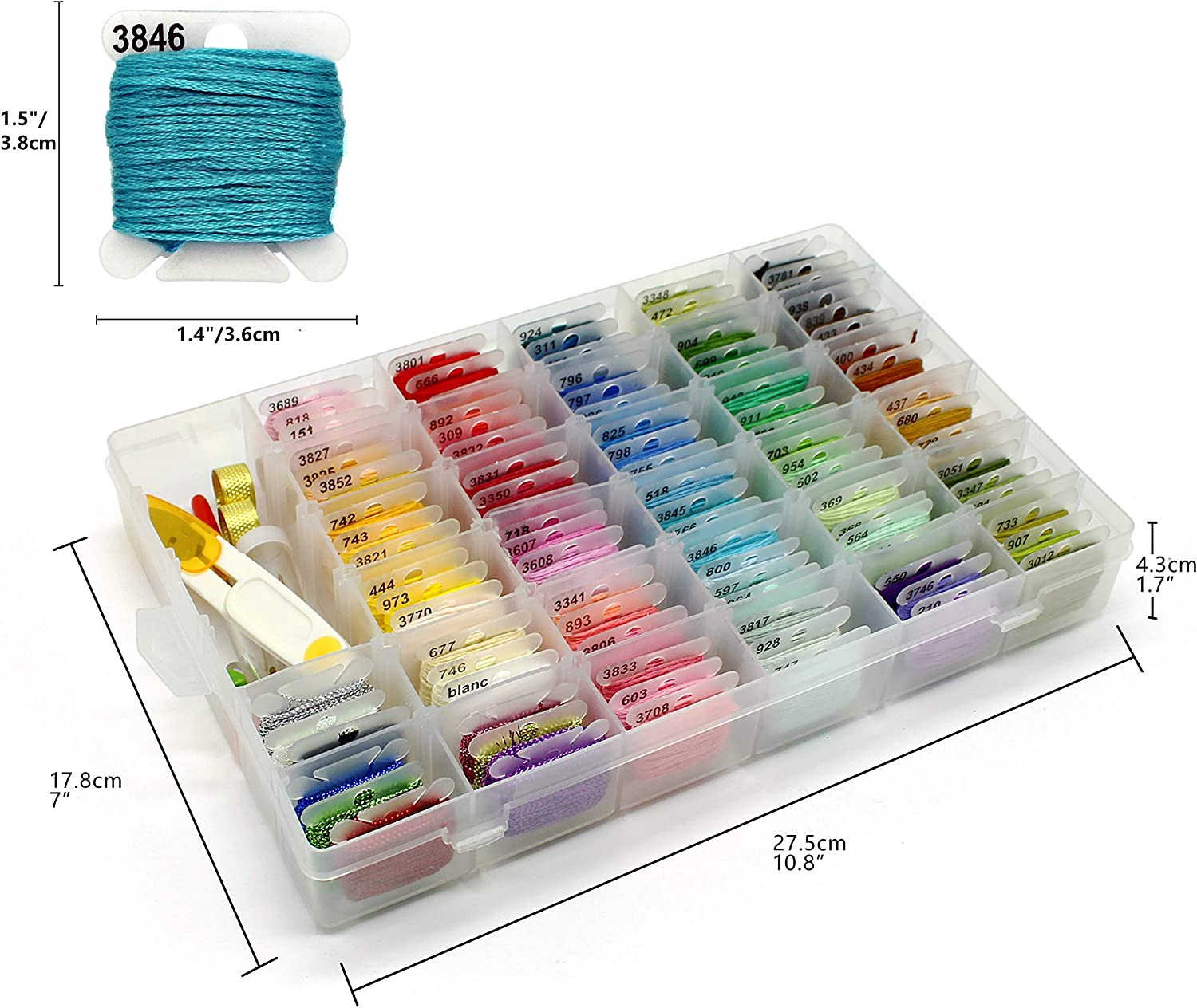 142PCS Embroidery Floss Friendship Bracelet String Includes 100 Rainbow Colors Metallic Thread Cotton Sewing Floss 40Pcs Cross Stitch Kits with Organizer Storage Box