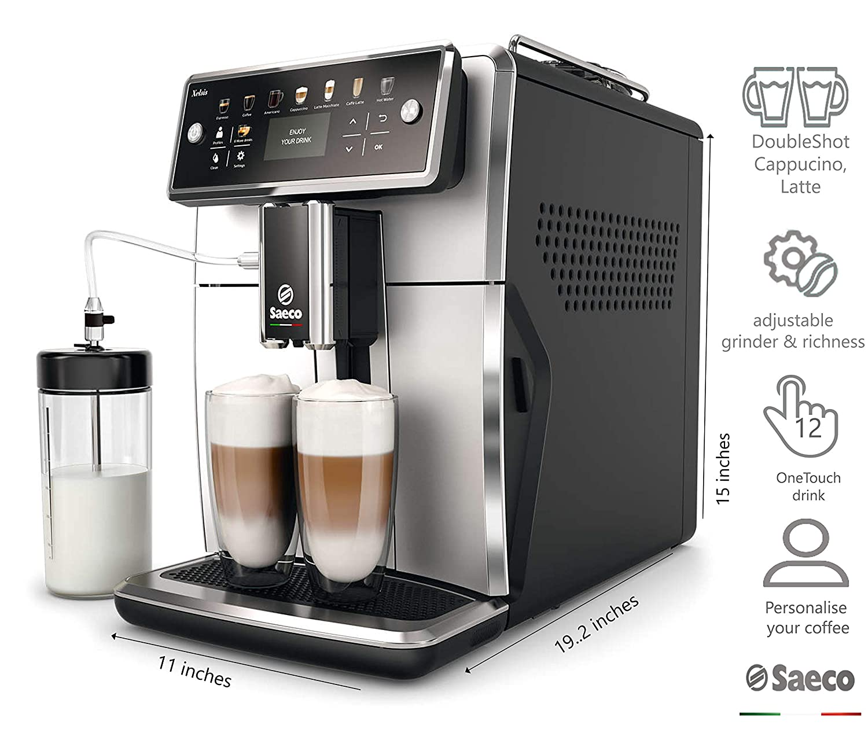 Saeco Xelsis SM7581/00 - Cafetera (Independiente, Máquina espresso, 1,7 L, Granos de café, De café molido, Molinillo integrado, Negro, Plata): Amazon.es: ...