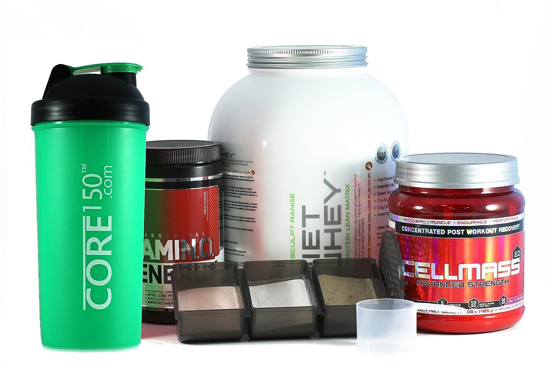 Le Protéine Shaker Core150 Vert de 1 Litre avec 3 compartiments de stockage: Amazon.es: Deportes y aire libre