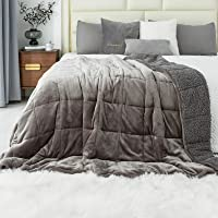immtree Sherpa Fluffy Weighted Blanket 12lbs,Dual Sided Cozy Fuzzy Heavy Blanket,Super Soft Bedding Blanket for Bed Sofa…