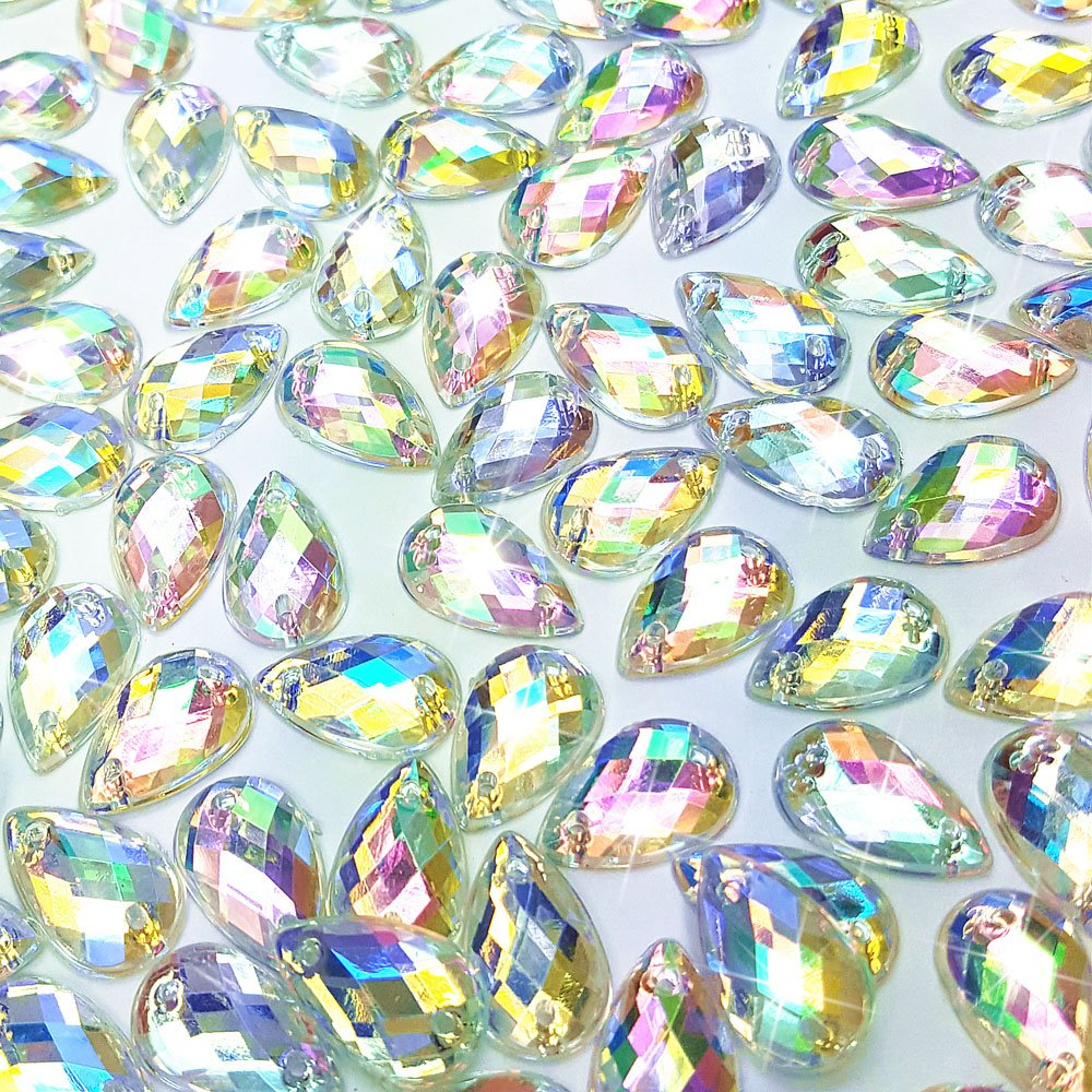 AB 300Pcs 0.31x0.51/″ Drop Shape Crystal Yellow Clear Acrylic Sew On Rhinestones Flatback Sewing Stones For Clothes Dress Crafts Garments Accessories