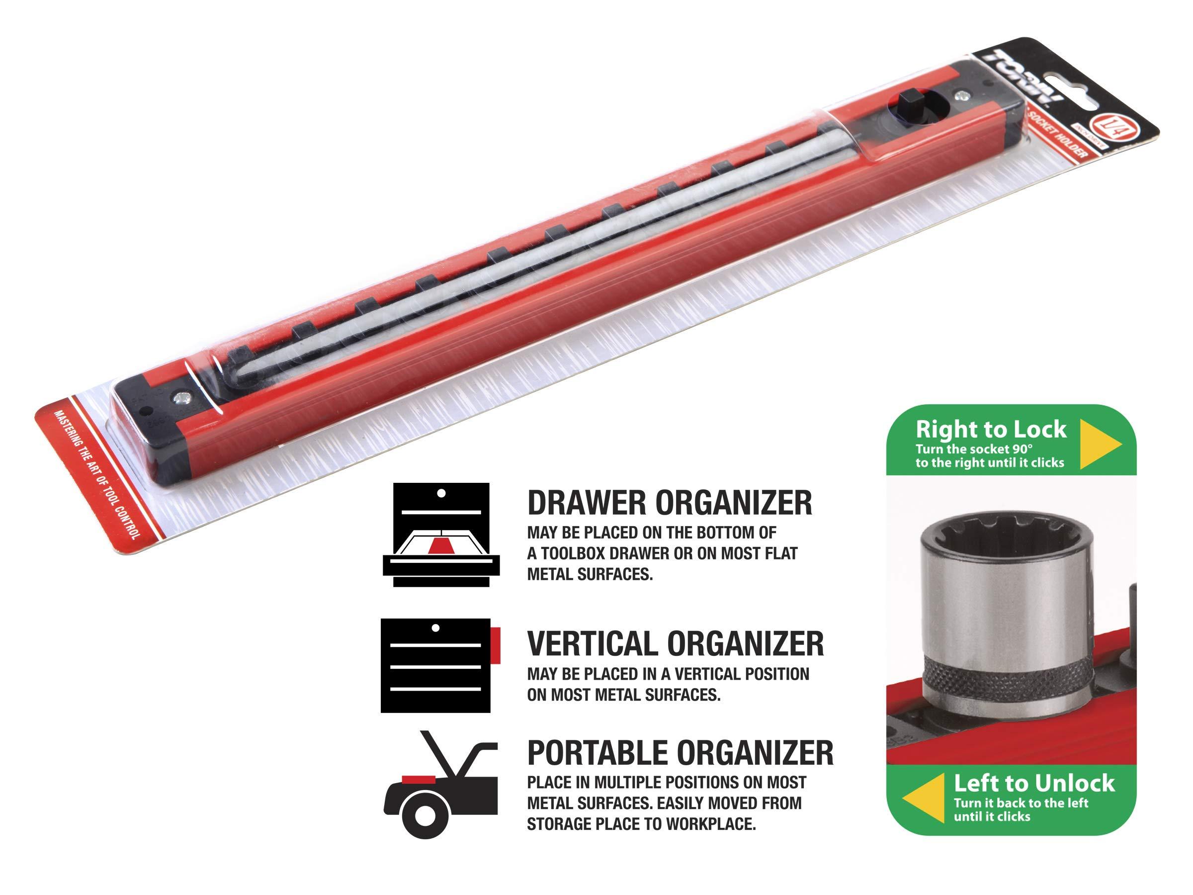 Mechanics Time Savers Vertical 1//4 in Drive Lock A Socket Magnetic Rail Rack