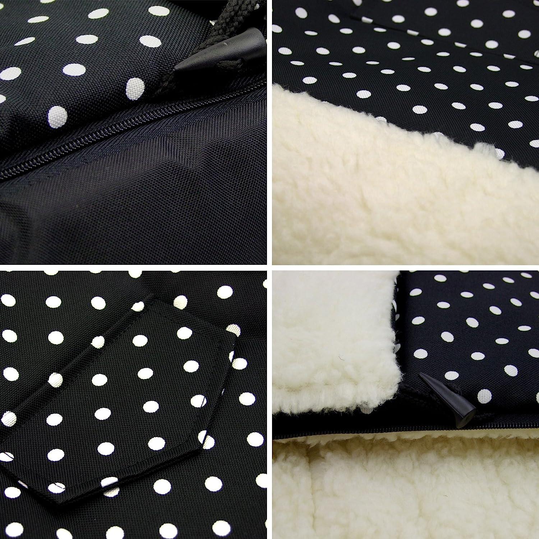 Bambiniwelt luge chancelière hiver 108 cm laine noir blanc points