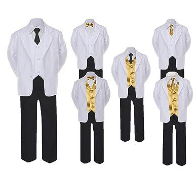 50867ff921f6 Amazon.com: Unotux 5-7pc Formal Black White Suit Set Gold Bow Long Tie Vest  Boy Baby Sm-20 Teen: Clothing