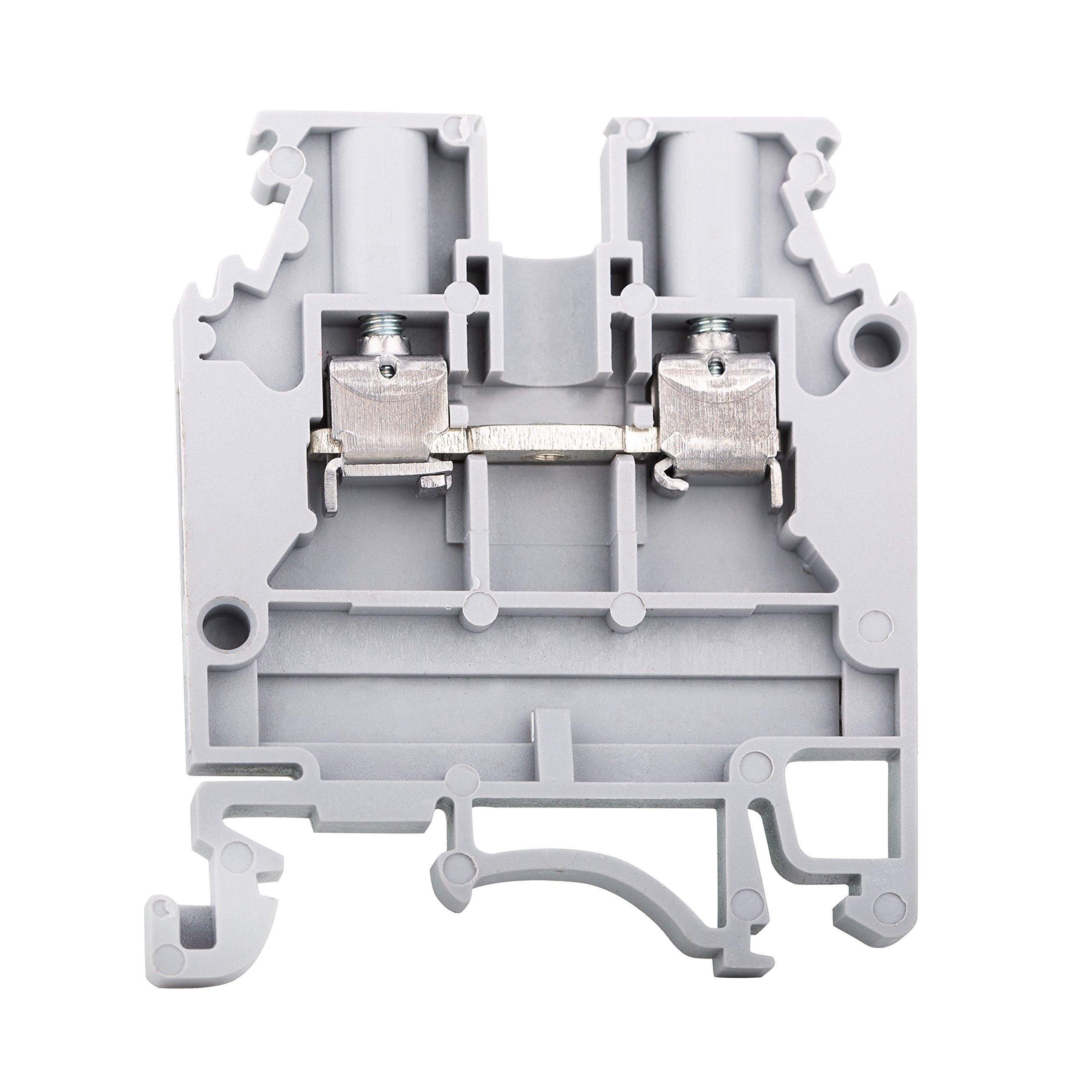Elmex Grey KUT2.5N DIN Rail Terminal Block Screw Type UL 600V 20A 12-20AWG, Pack of 100