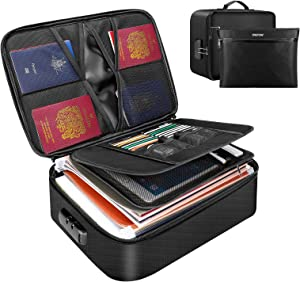 ENGPOW File Organizer Bags,Fireproof Document Bag with Money Bag,Home Office Travel Safe Bag with Lock,Multi-Layer Portable Filing Storage for Important File Passport Certificates Legal Documents