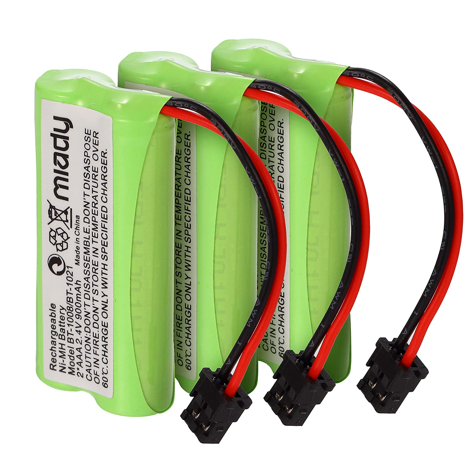 Miady 2.4V 2 AAA 900mAh Ni-MH Cordless Home Phone Battery for Uniden BT1008 BT-1008 BT1016 BT-1016 BT1021 BT-1021 WITH43-269 WX12077 Sanyo CAS-D6325 CASD6325 Lenmar CBBT1008 CB-BT1008 (Pack of 3)