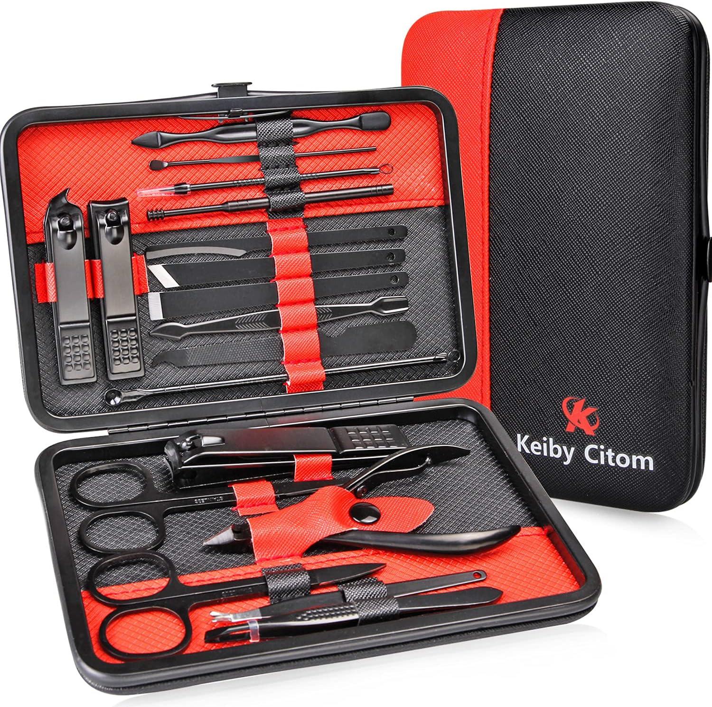 Set de Manicura Pedicura Profesional Cortaúñas Acero Inoxidable -18 Piezas para Manicura y Pedicura Limpiador Cutícula con Caja de Cuero (Rojo Negro)