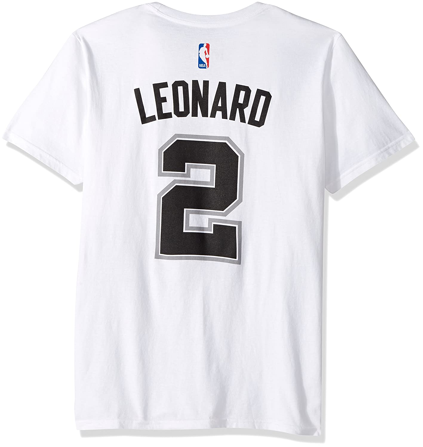 the latest d0b70 5a2a4 adidas Kawhi Leonard San Antonio Spurs White Jersey Name and Number T-Shirt