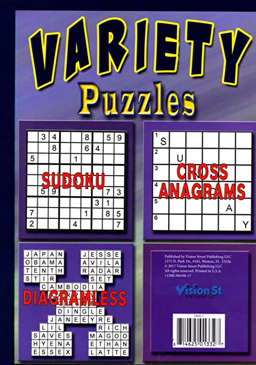 Amazon com: Vision St Variety Puzzles Book - Sudoku, Cross