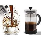 French Press Coffee, Tea & Espresso Maker - Easy Cleaning, Quality Filter System, Glass & Stainless Steel, Heat Resistant Pot and Portable (34 oz) 4 cups/1 Liter/ 34 ounce