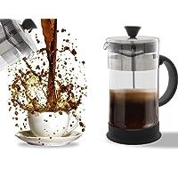 Kaffeebereiter, Kaffeepresse für Tee & Espresso–Einfache Reinigung, hochwertiges Filter-System, Glas & Edelstahl, hitzebeständig, tragbar, für 4Tassen/1Liter