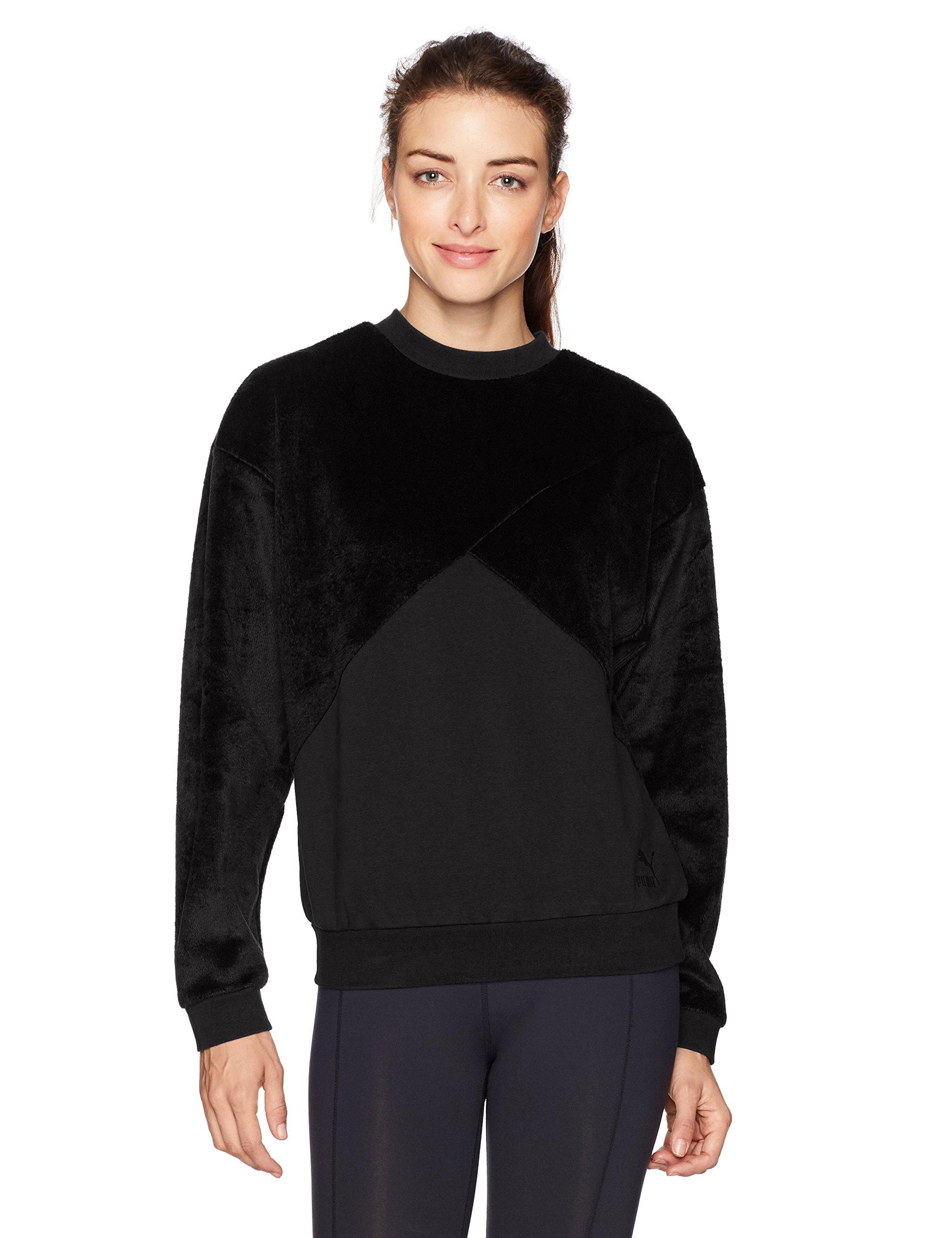 PUMA Women's Fabric Block Crew Neck Sweatshirt, Black, L