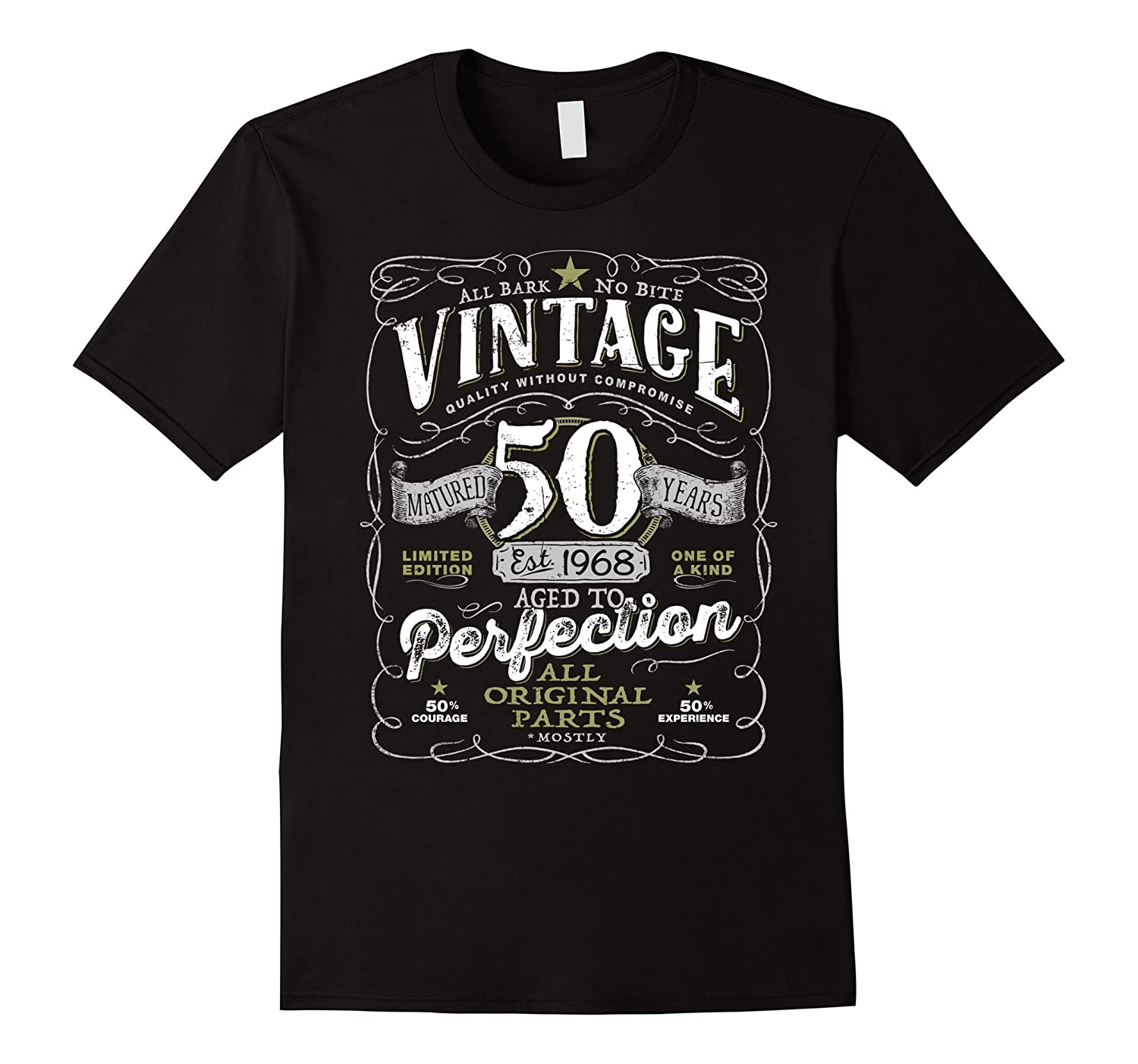 Vintage 50th Birthday in 2018 Aged To Perfection T-shirt-RT