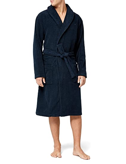21dc3ae29 Tommy Hilfiger Men's Icon bathrobe Blue (Navy Blazer), Small