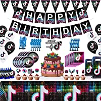 Tik Tok Party Supplies for Kids Birthday,Party Decoration for Boys And Grils Icluded Table Cloth,Cake Dishes,Gift Bags…