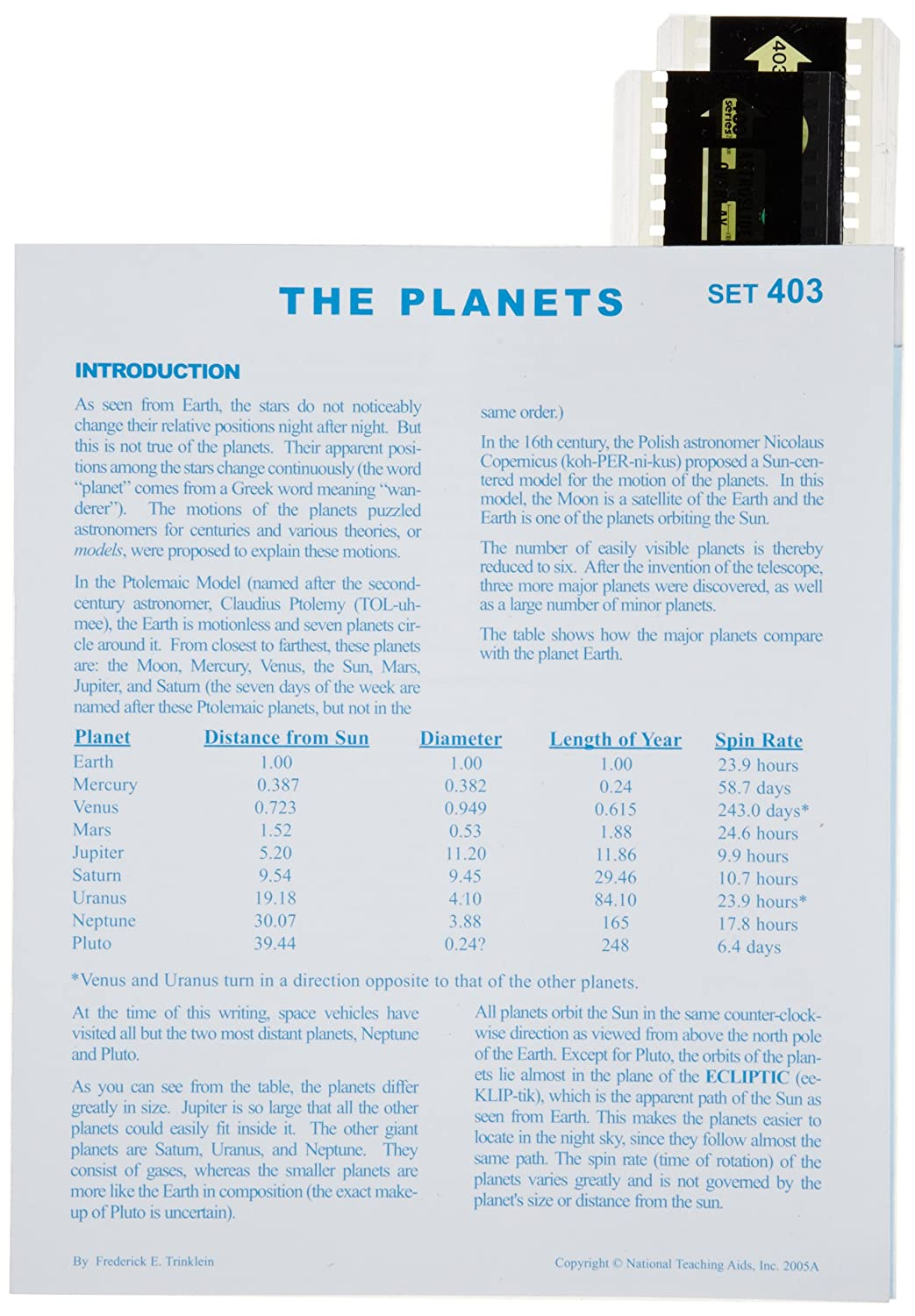 American Educational The Planets Astroslide Chart