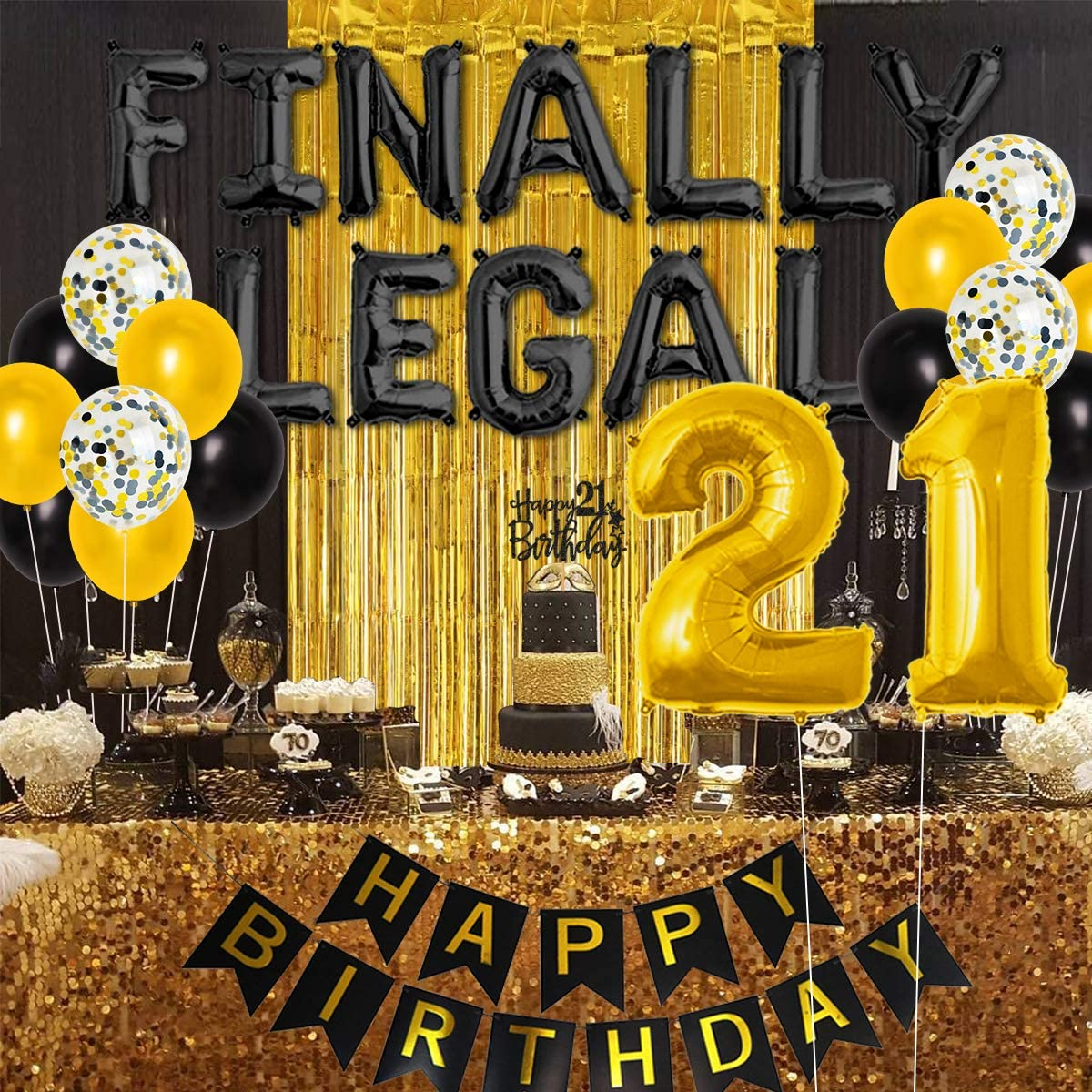 Meuparty Finally 21st Legal Birthday Decorations Balloons Themed Happy 21st Birthday Banner Sash Tinsel Backdrop Black Gold for Him Her