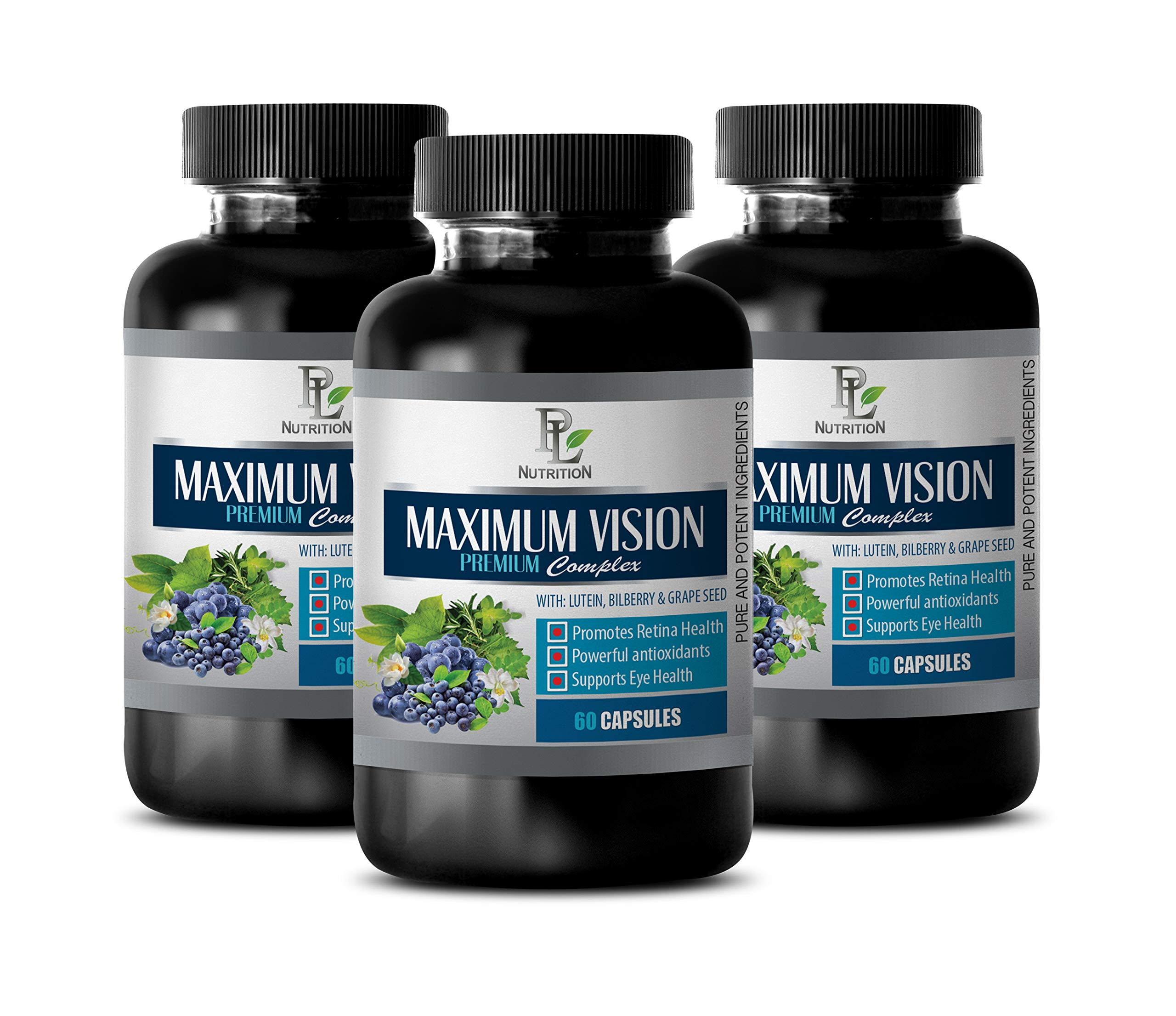 Eye Supplements for Adults Natural - Maximum Vision Premium Complex with Lutein Bilberry and Grape Seed - Grape Seed Capsules - 3 Bottle 180 Capsules