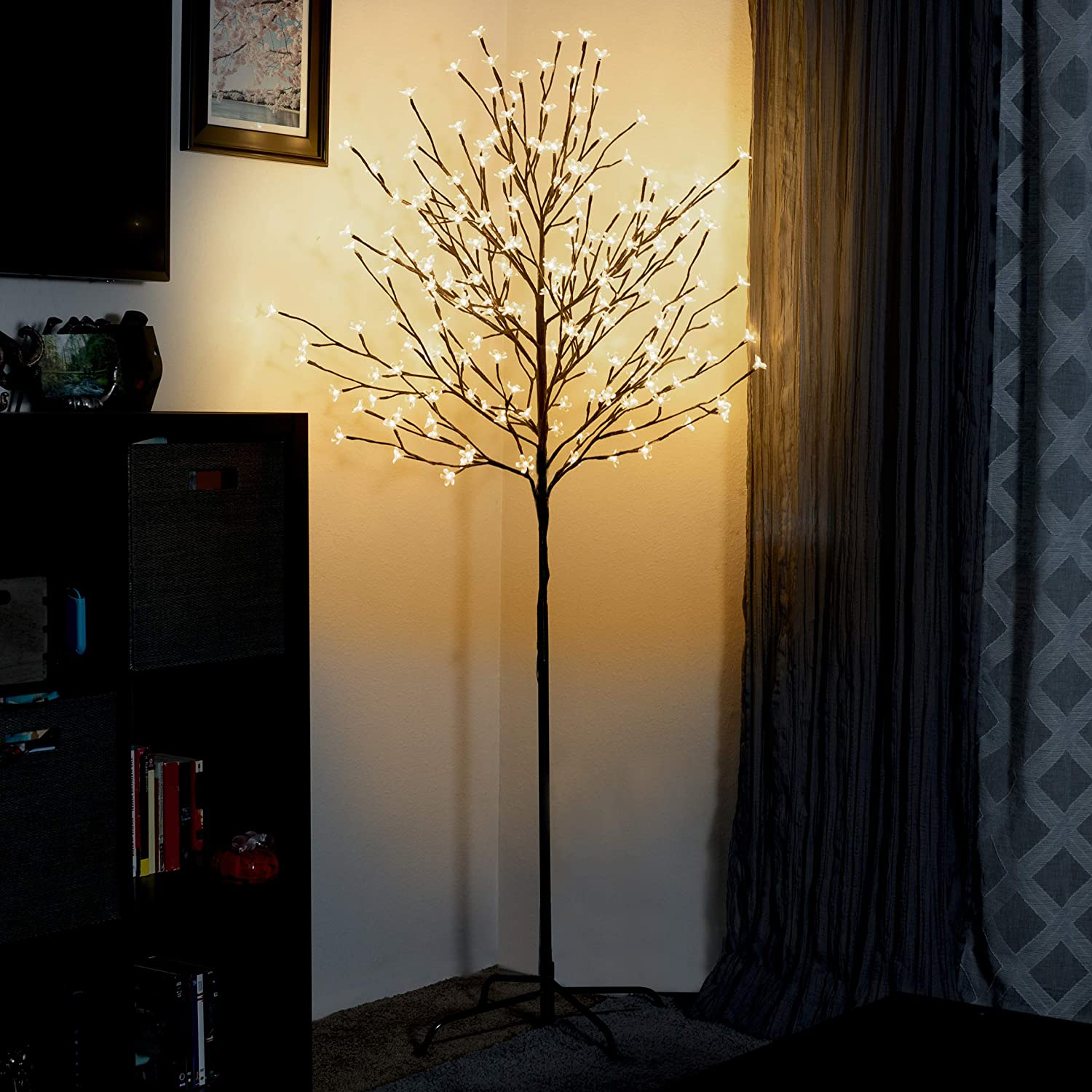 Asani Cherry Blossom Tree Light for Holiday and Home Decor, 6-Foot Artificial Lighted Tree with 208 Warm White LEDs, Lighting Decorations for Christmas, Wedding, Living Room, Bedroom, Indoor, Outdoor