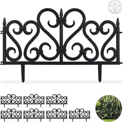 Relaxdays Set de 8 separadores de jardín, Valla Decorativa, con Ornamentos, Altura de 28 cm, Negro: Amazon.es: Jardín