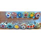 Mix aus Keramikknäufen im Vintage-Look, 12 Stück, Blumendesign, Griffe für Türen, Schränke, Schubladen