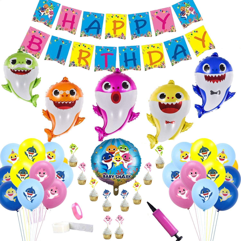 Clerfy Acc Tiburón Joven y Arco Iris Globo de Cumpleaños Kit-de Fiesta de Cumpleaños Feliz Suministros con Globos de Unicornio Banner de Cumpleaños de Arco Iris, Gran Regalo para Niños y Amigo