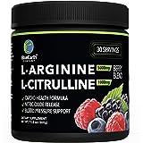 L-Arginine 5000mg + L-Citrulline 1000mg Complex Powder Supplement - Nitric Oxide Booster - Blood Pressure Support - Berry Fla
