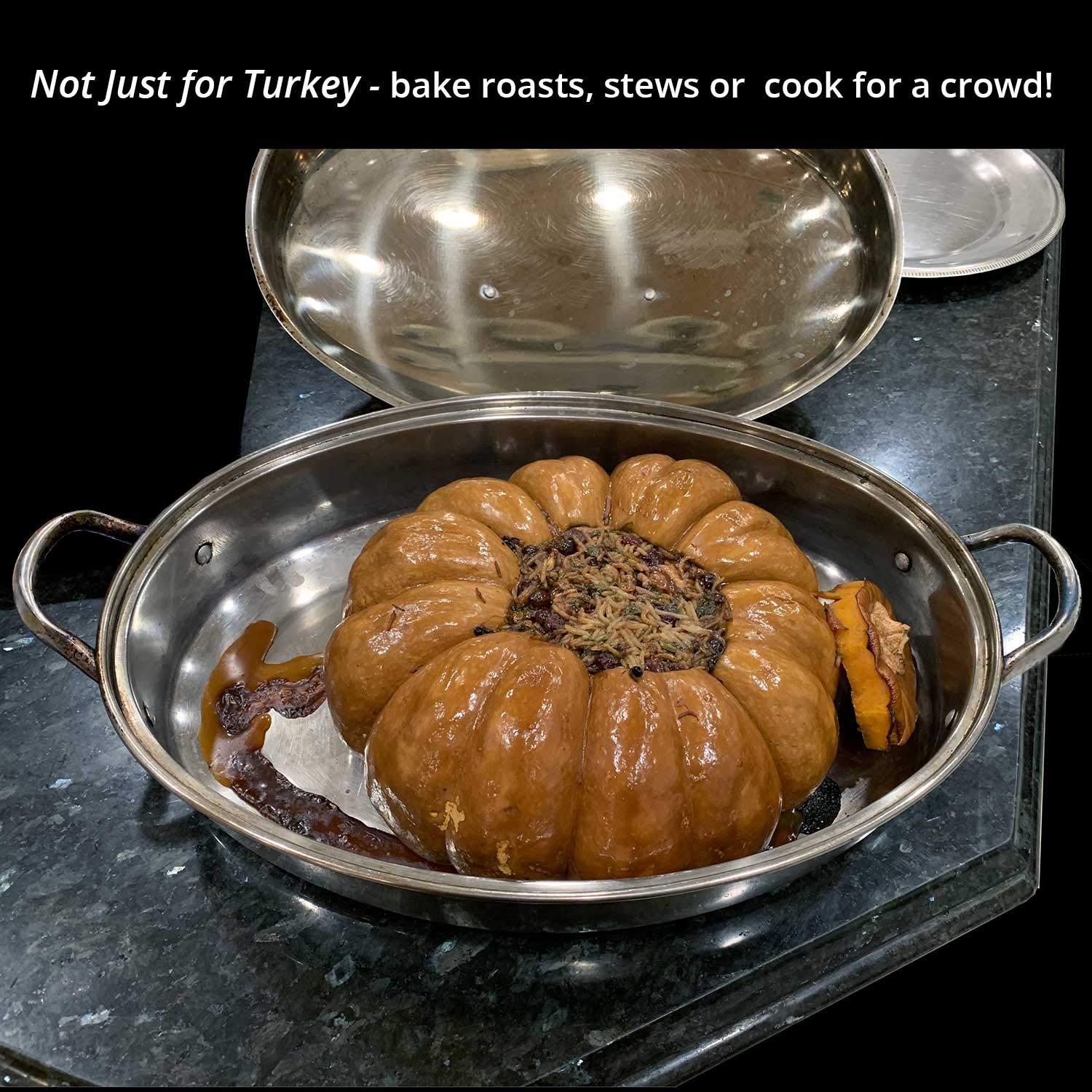 Stainless Steel Oval Lidded Roaster Pan Extra Large & Lightweight | With Induction Lid & Wire Rack | Multi-Purpose Oven Cookware High Dome | Meat Joints Chicken Vegetables 9.5 Quart Capacity by LavoHome (Image #7)