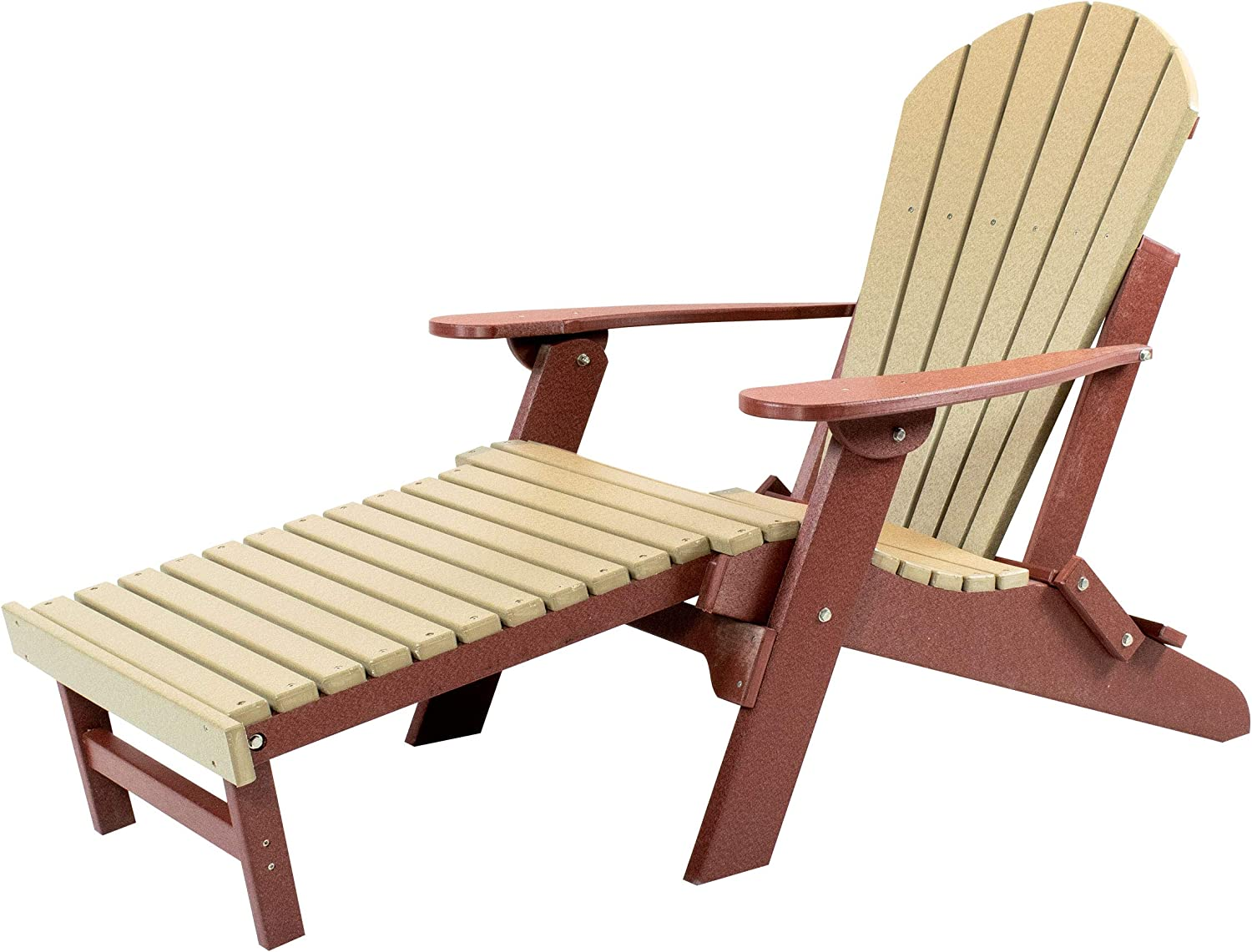 Amish Made Poly Folding Adirondack with Pull Out Ottoman (Weatherwood on Cherry)