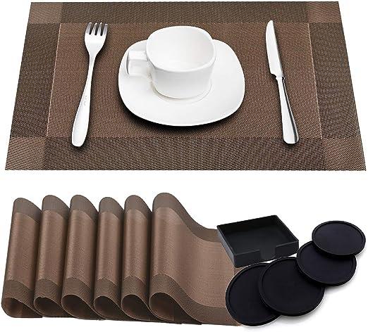 Compra Paquete de 6 Tapetes de mesa resistentes al calor lavables ...
