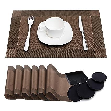 Paquete de 6 Tapetes de mesa resistentes al calor lavables + 4 Portavasos de silicona redondo ...