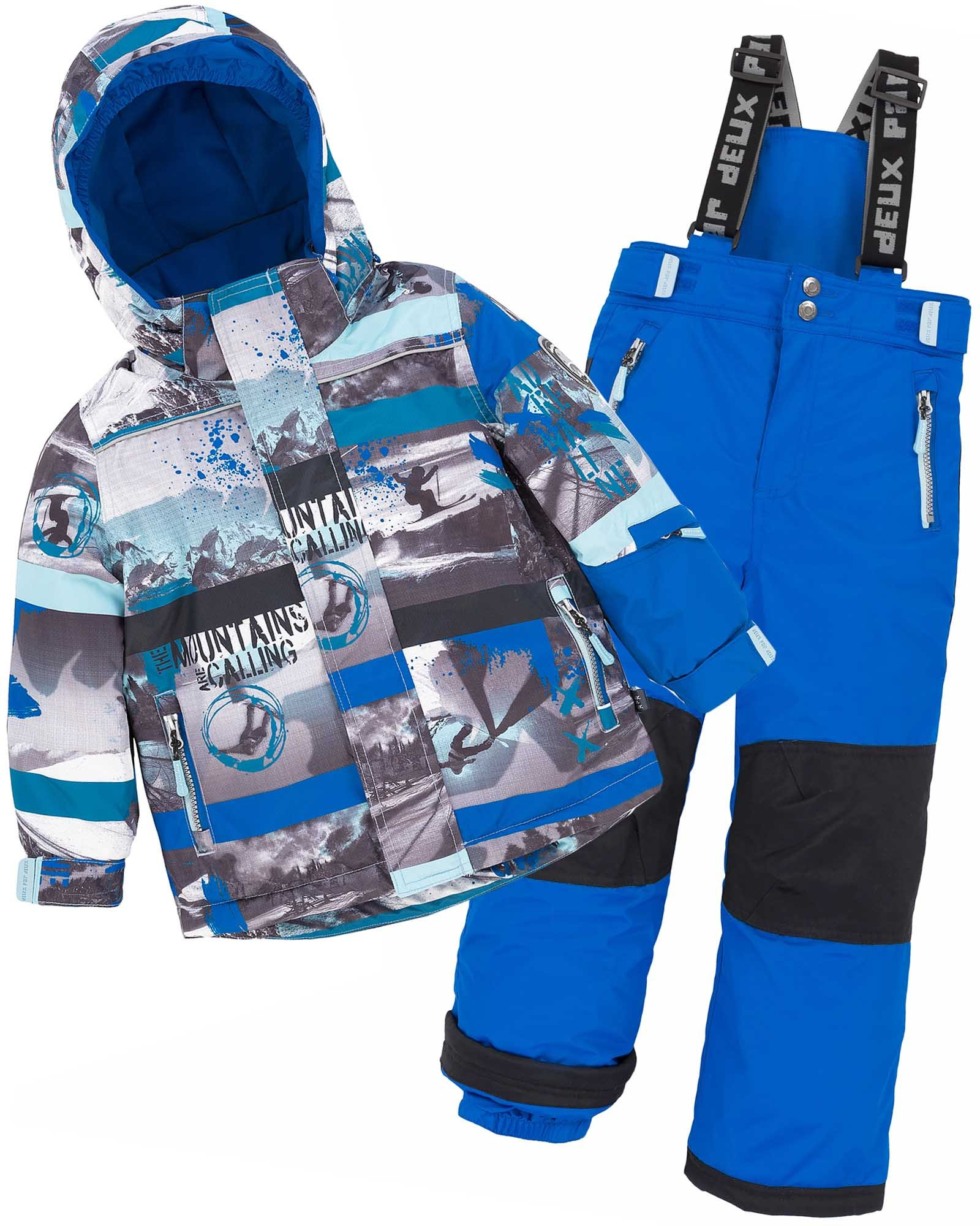 Deux par Deux Boys' 2-Piece Snowsuit Mountains are Calling Blue, Sizes 4-14 - 7 by Deux par Deux