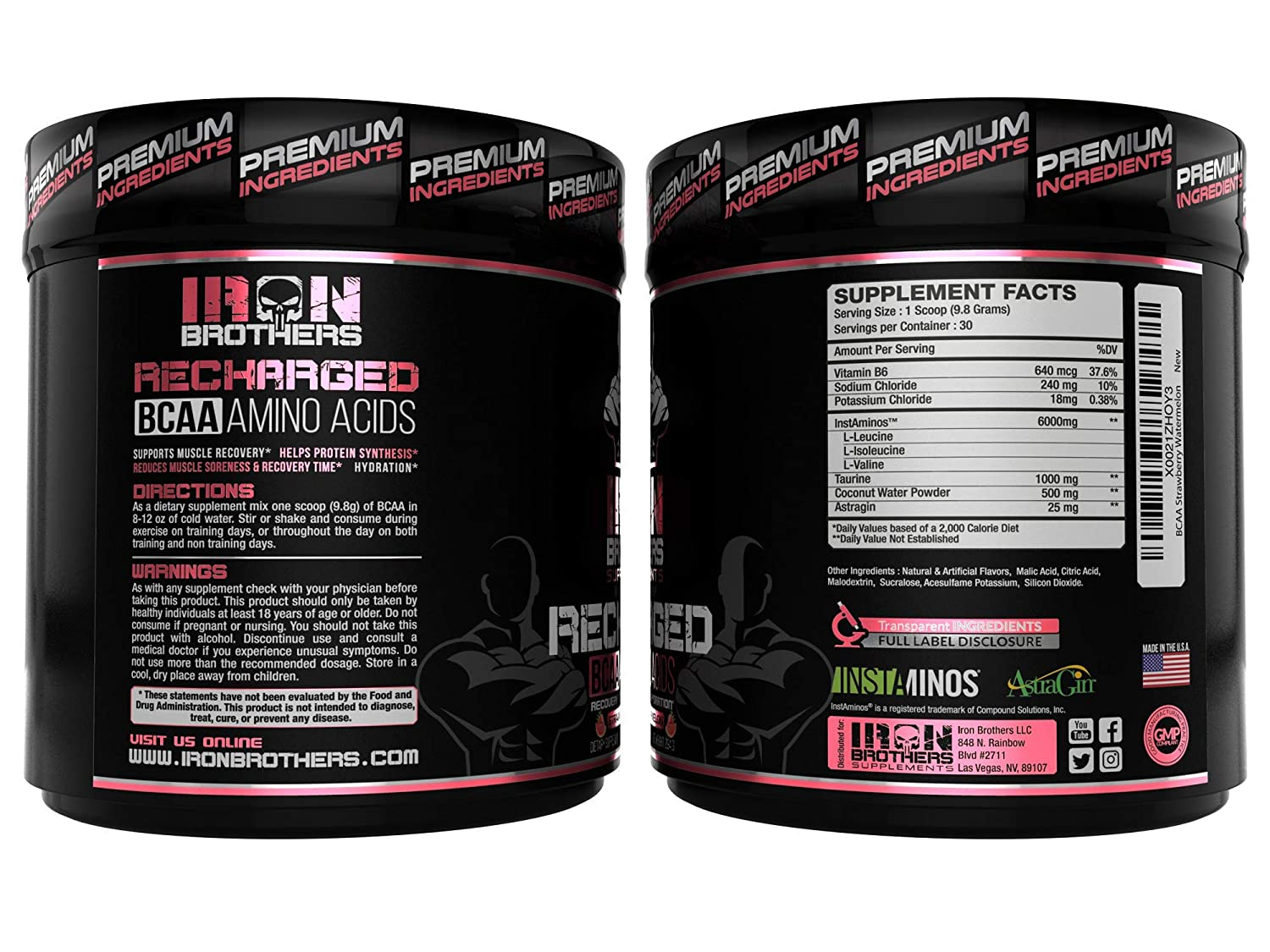 BCAA Powder Supplement – Best Intra Workout Formula – Amino Acids for Hydration – Strawberry Watermelon Vegan Instaminos – All Natural Fermented – Non-GMO – Gluten-Free – Ideal 2 1 1 Ratio