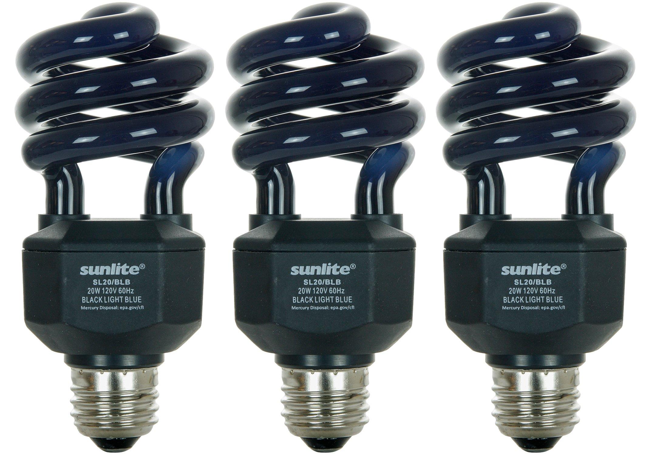 Sunlite SL20/BLB/3PK 20W Spiral Energy Saving CFL Light Bulb Medium Base (3 Pack), Blacklight Blue