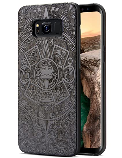 huge discount fc761 4d5d5 Galaxy S8 Wood Case, Real Natural Wood Carve Totem Hybrid Thin Shock  Absorbing Drop Resistance Heavy Duty Protection Protective Case for Galaxy  S8