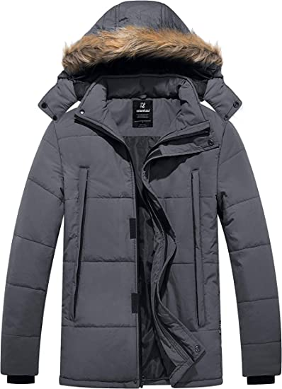 SportsX Mens Puffer Quilted Hoodie Pocket Warm Padded Outwear Coat Jacket