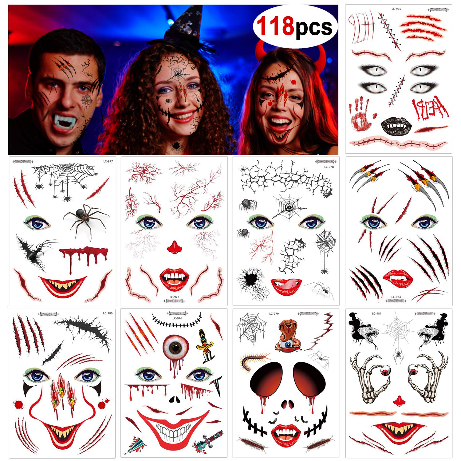 Konsait 9 Pack Halloween Face Temporary Tattoos, Day of the Dead Bloody Scar Black Skeleton Spider Web Transfers Face Tattoo for Women Men Adult Kids Halloween Masquerade Party Favor Supplies