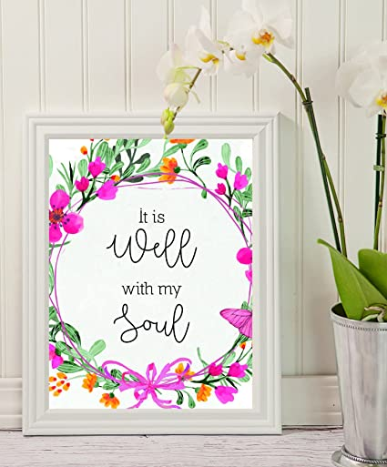 Amazon.com: Bible Verse Wall Art - It is Well with My Soul - Black ...