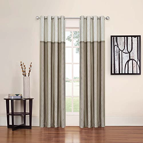 ECLIPSE 52 x 84 Window Treatment Thermal Insulated Single Panel Grommet Top Darkening Curtains for Living Room, Latte