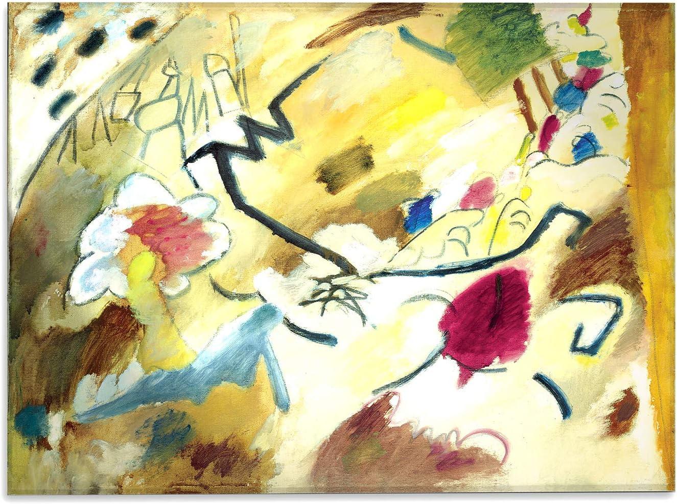 Giallobus - Cuadro - Kandinsky - Improvisación con Caballos - Impresión sobre Vidrio acrílico de plexiglás - Listo para Colgar - Varios tamaños - 140X100 cm