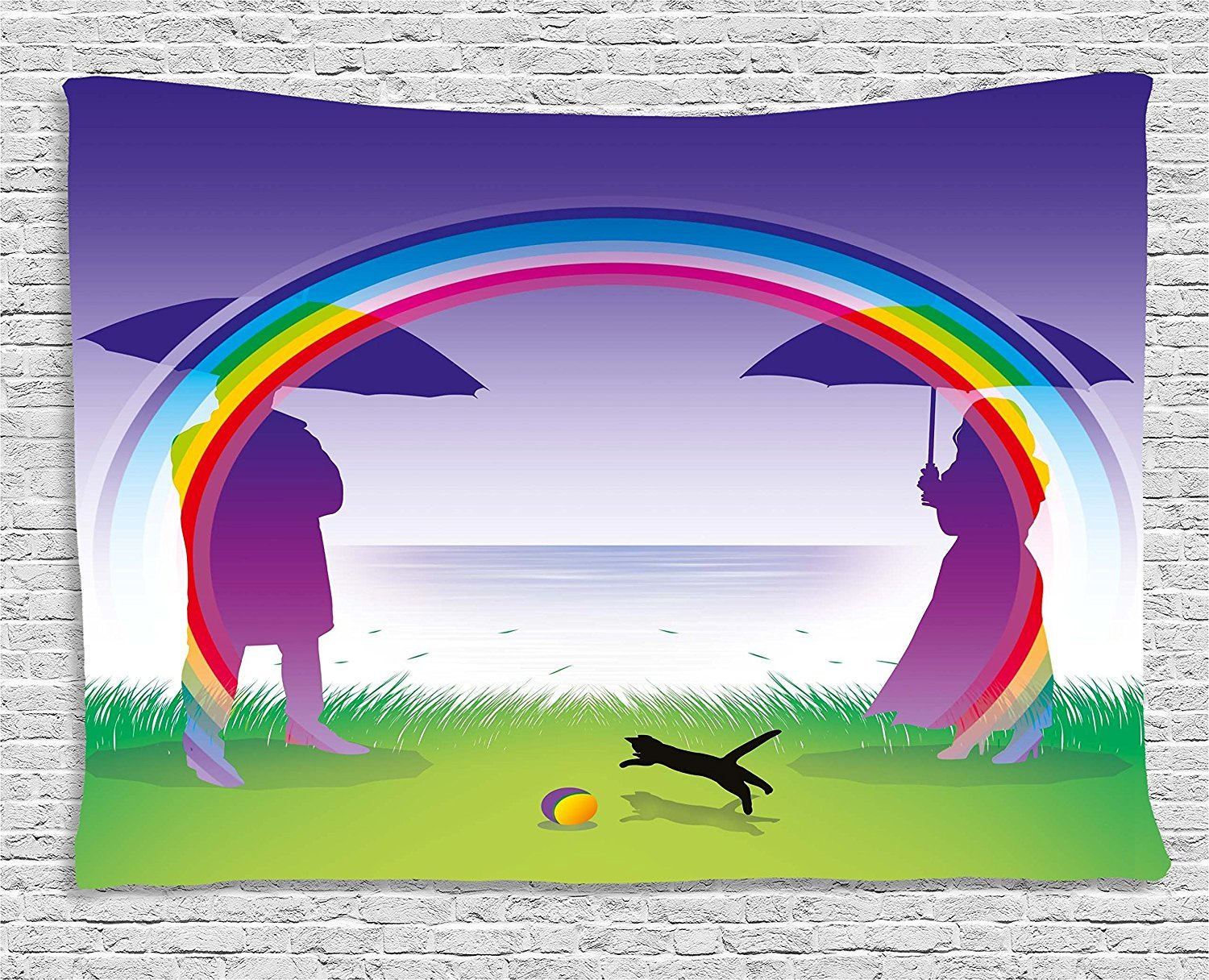 asddcdfdd Romantic Decor Tapestry, Man and Woman Couple 4Lovers under Rainbow with Umbrellas in the park Graphic Art, Wall Hanging for Bedroom Living Room Dorm, 80 W X 60 L Inches, Multi