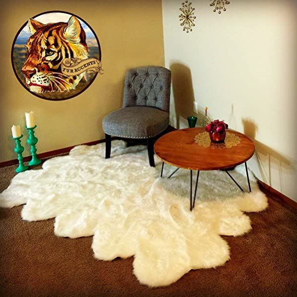Fur Accents Faux Fur Shag Area Rug
