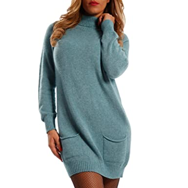 Young Fashion Damen Strickkleid Long Pullover mit Rollkragen Herbst Winter Kleid One Size Jumper